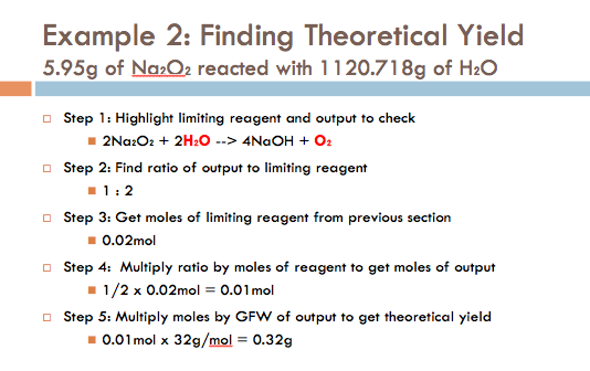 How to determine theoretical yield of a reaction